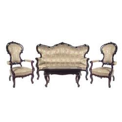 Mēbeļu komplekts - Sofa, galds un divi krēsli