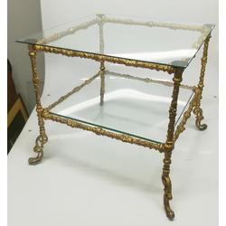 Stikla galdiņš ar bronzēta metāla apdari
