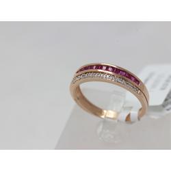 Zelta gredzens ar briljantiem un rubīniem