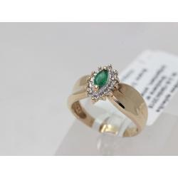 Zelta gredzens ar 12 briljantiem un smaragdu