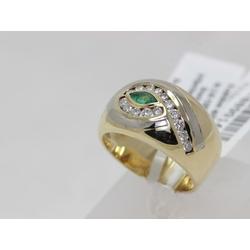 Zelta gredzens ar 15 briljantiem, smaragdu
