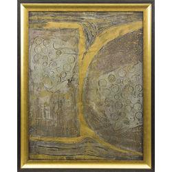 Divpusēja glezna - strādnieki, abstrakta kompozīcija