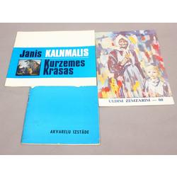 3 izstādes katalogi - 1) Igaunijas PSR, Latvijas PSR un Lietuvas PSR 1.akvareļu izstāde, 2) Jānis Kalnmalis, 3) Uldim Zemzarim 60