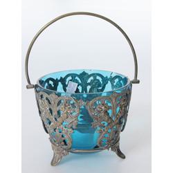 Zilā stikla saldumu trauks ar metāla apdari