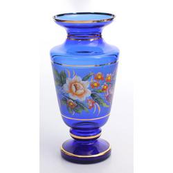 Zilā stikla vāze ar gleznojumu