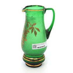 Zaļā stikla krūka ar zeltījumu