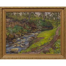 Meža ainava ar upi