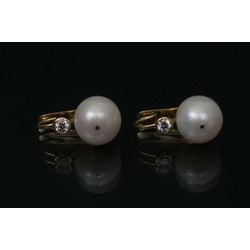 Pērļu auskari ar briljantiem