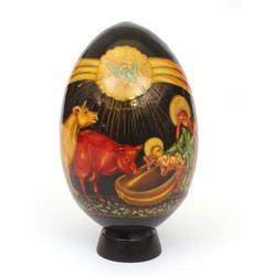 Dekoratīva koka ola ar turētāju