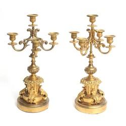 Apzeltīts bronzas svečturu pāris (2 gab.)