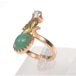 Zelta gredzens ar briljantu un smaragdu