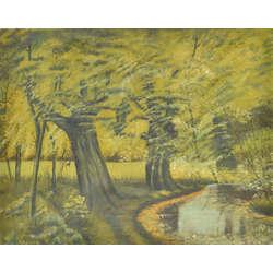 Ainava ar kokiem pie upītes