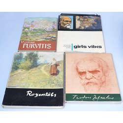 4 grāmatas par Latviešu māksliniekiem - ''V. Purvītis, Rozentāls, T. Zaļkalns, Ģ. Vilks''