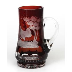Iļģuciema stikla dzērienu krūka ar putnu attēliem