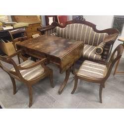 Bīdermeijera stila mēbeļu komplekts - sofa, galds, 3 krēsli