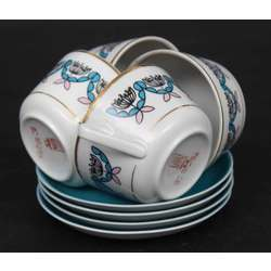 Porcelāna tasītes ar apakštasītēm 4 gab.