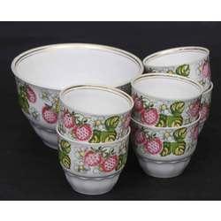 Porcelāna kompota krūzes ar trauku (6+1)