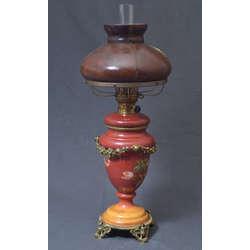 Porcelāna petrolejas lampa ar bronzas apdari