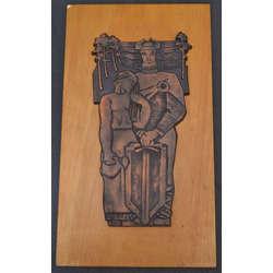 Metāla dekors uz koka pamatnes