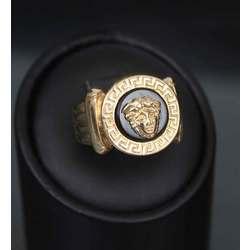 Sieviešu zelta gredzens ar oniksu
